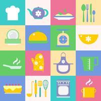 Küche und Küchenikonen eingestellt vektor