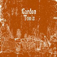 Handdragen vintageaffisch med trädgårdsredskap