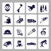 Lumberjack ikonuppsättning vektor