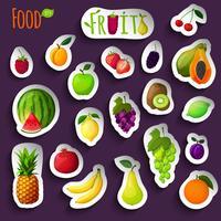 Färska frukter klistermärken vektor