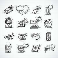 Kontakta oss ikoner skiss