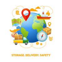 Logistisk global konceptdesign illustration