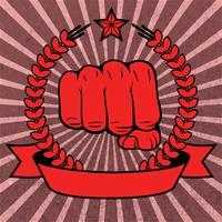 Rotes Plakat der zusammengepreßten Faust mit Band