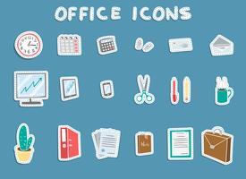 Kontorsklistermärke ikoner uppsättning