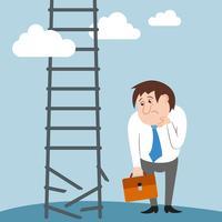 Trauriger und verwirrter Geschäftsmanncharakter verlor Job