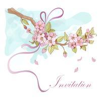 Sakura körsbärsinbjudan vektor