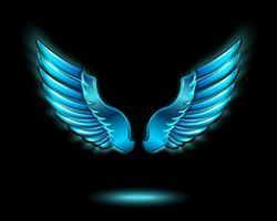 Blå glödande ängelvingar
