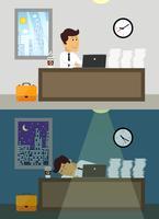 Büroangestellter Tag und Nacht