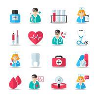 Medicinsk sjukvård ikoner uppsättning vektor