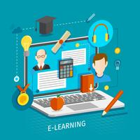 E-Learning-Konzept flach