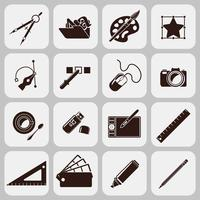 Designerverktyg Svarta ikoner