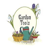 Hand gezeichnetes Emblem der Gartenarbeitwerkzeuge
