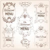 Eleganta restaurangmärken vektor