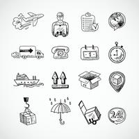 Logistiska Hand Drawn Icons Set