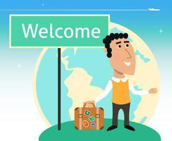 Urlaub oder Geschäftsreisender Charakter vektor