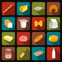 Mat ikoner uppsättning