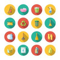 Rengöring ikoner platt uppsättning