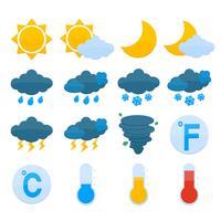 Väderprognos Ikoner Set vektor