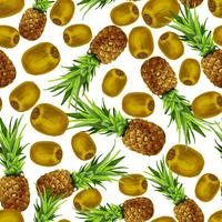 Nahtloses Muster der Ananaskiwi