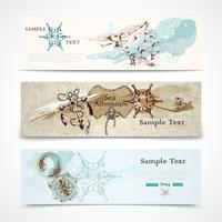 Hav horisontella nautiska design banners set