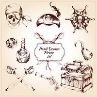 Pirater dekorativa ikoner uppsättning