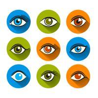 Augen Icons Flat Set vektor