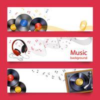 Vinyl Rekordmusik Banner vektor