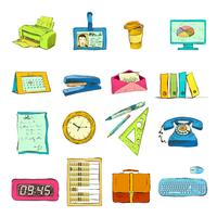 Business Office Stationery Supplies Ikoner Set