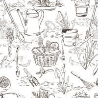 Nahtlose Skizze mit Gartengeräten