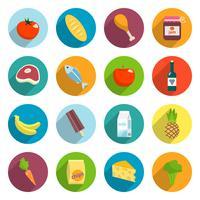 Supermarkt-Lebensmittel-flache Ikonen eingestellt vektor