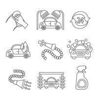 Bil tvätt ikoner skiss vektor