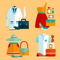 Einkaufen-Kleidungs-Ikonen eingestellt vektor