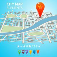 Stadskarta med navigeringsmarkörer vektor