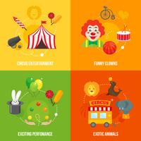 Zirkus retro Icons Zusammensetzung vektor