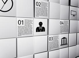 Infographik Gestaltungselemente der abstrakten Würfel