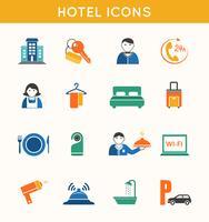 Hotell resa platt ikoner uppsättning vektor