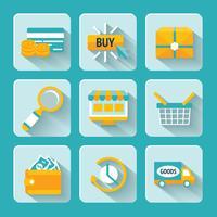 Inställda ikoner för online shopping vektor
