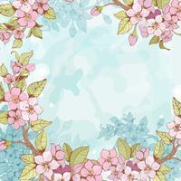 Sakura gren ram bakgrund vektor