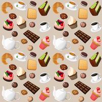 Nahtloser Hintergrund des Kaffees und der Bonbons