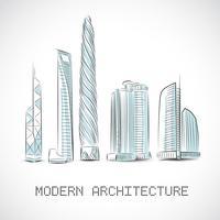 Byggnadssamling av moderna skyskrapor