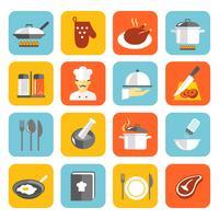 Matlagning ikoner platt