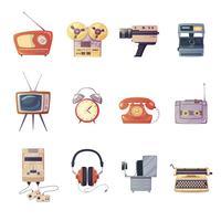 retro media gadgets tecknad set vektor