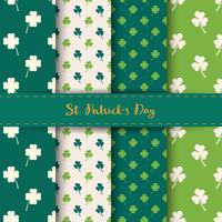 Sats med St Patrick's Day sömlösa mönster med klöver och shamrock i grön och vit färg.