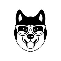 Porträtt av Akito Inu med glasögon, svartvitt platt stil.