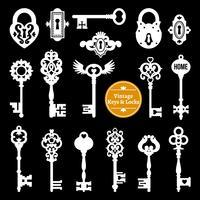 Vita nycklar och lås Set