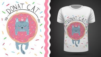 Katze mit Donut - Idee für Druckt-shirt.