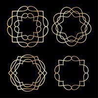 goldene Umrissmedaillonformen vektor