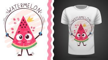 Söt vattenmelon - idé för tryckt-shirt vektor