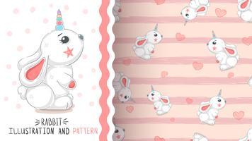 Kanin med hjärta - sömlöst mönster