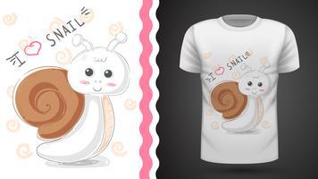 Gullig snigel - Idé för tryckt t-shirt